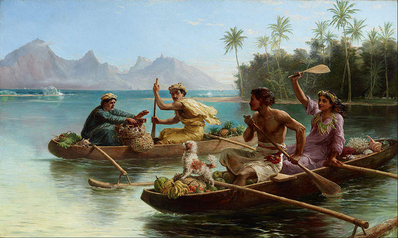 Race to the market, Tahiti (1880)