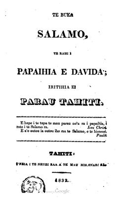 Te Buka Salamo te rahi i Papaihia e Davida iritihia ei parau Tahiti (1832)