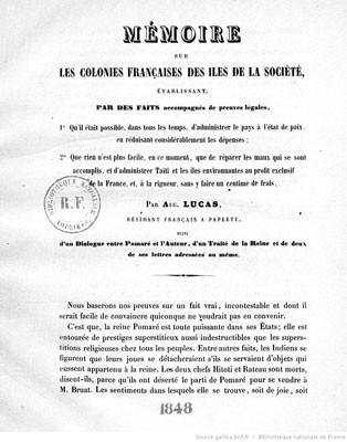 Mémoire sur les colonies françaises des îles de la Société (1848)
