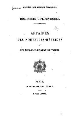 Affaires des Nouvelles-Hébrides et des Iles Sous-le-Vent de Tahiti (1887)