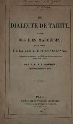 Du dialecte de Tahiti, de celui des îles Marquises, et en général, de la langue polynésienne (1852)