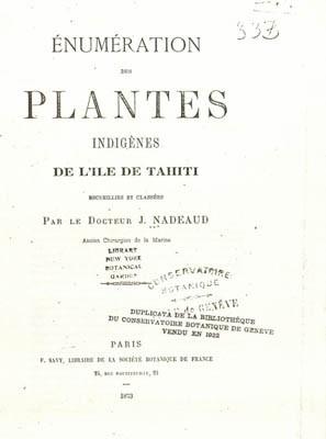 Enumération des plantes indigènes de l'île de Tahiti (1873)