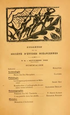 Bulletin de la Société des études océaniennes N°6 (1922)