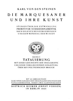 Die Marquesaner und ihre Kunst : Primitive südseeornamentik – Tatauierung – Volume 1 (1925)