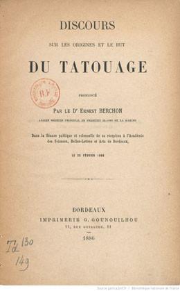 Discours sur les origines et le but du tatouage (1886)