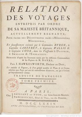 Relation des voyages pour faire les découvertes dans l'hémisphère méridional – Tome I (1774)