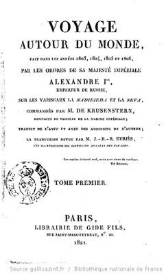 Voyage autour du monde de Krusenstern – Tome 1 (1821)