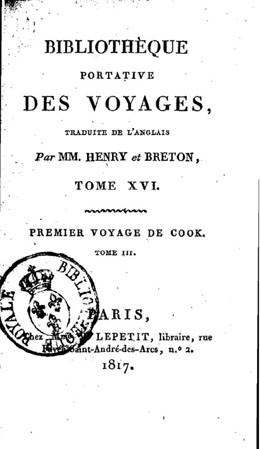 Premier voyage de Cook (1817)
