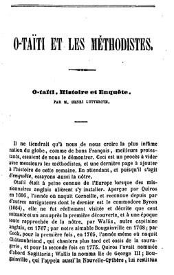 O Taîti et les Méthodistes (1844)
