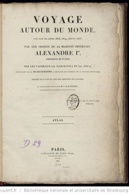 Voyage autour du monde de Krusenstern – Atlas (1821)