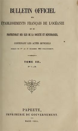 Bulletin officiel des établissements français de l'Océanie – Année 1863 (1864)