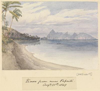 Eimeo (Moorea) from near Papeete – Sir Edward Gennys Fanshawe – 25 août 1849