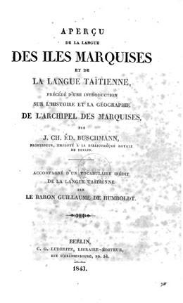 Aperçu de la langue des îles Marquises et de la langue taïtienne précédé d'une introduction sur l'histoire et la géographie de l'archipel des Marquises (1843)