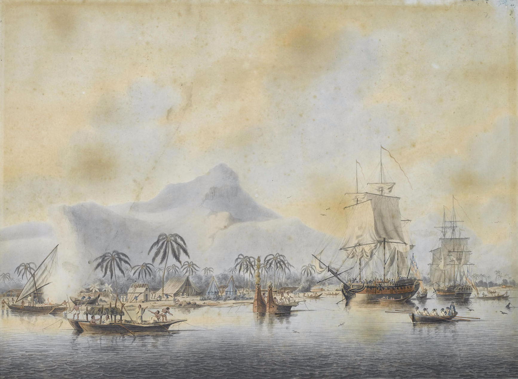 HMS Resolution et Discovery à Huahine
