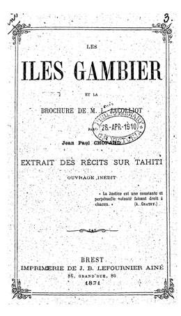 Les îles Gambier et la brochure de M. L. Jacolliot (1871)