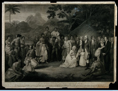 Tahitians kneeling before Captain James Wilson after the cession of the district of Matavai in Tahiti (1803)