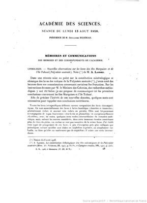 Nouvelles observations sur les laves des îles Marquises et de l'île Tubuai (1928)