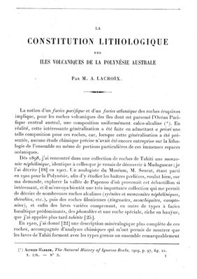 La constitution lithologique des îles volcaniques de la Polynésie australe (1928)
