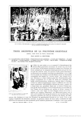 Trois archipels de la Polynésie orientale : Samoa, Iles Sous-le-Vent & les Marquises (1911)