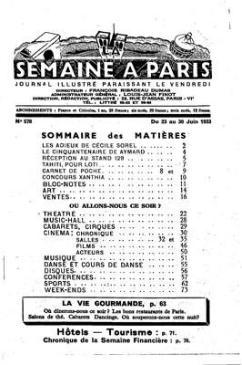 Tahiti pour Loti – La semaine à Paris (1933)