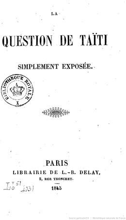 La question de Taïti simplement exposée (1845)