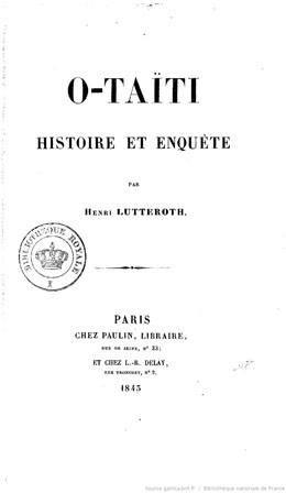 O-Taïti : histoire et enquête (1843)