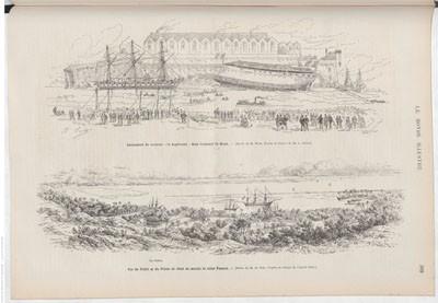 Vue de Tahiti et du Palais où vient de mourir la reine Pomaré (1877)