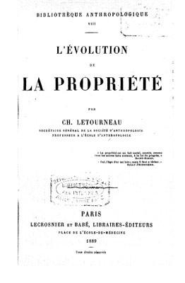 L'évolution de la propriété (1889)