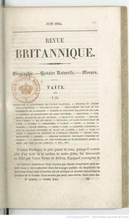 Taïti, histoire naturelle et politique – Partie I – Revue britannique (1844)