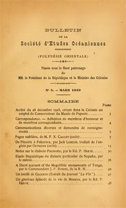 Bulletin de la Société des études océaniennes N°5 (1919)