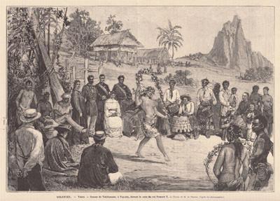 Danses de Tahitiennes à Papeete devant la cour du roi Pomaré V (1882)