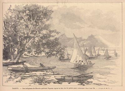 La fête nationale à Tahiti – Départ de Papeete (1884)