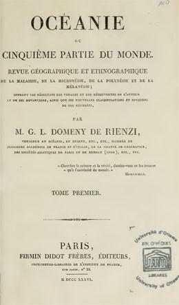 Océanie ou cinquième partie du monde – Tome I (1836)