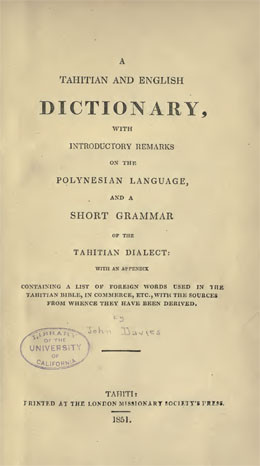 Tahitian and english dictionary par John Davies (1851)