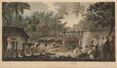 Sacrifice humain sur un marae de Tahiti