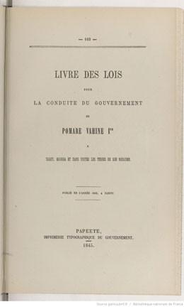 Livre des lois pour la conduite du gouvernement de Pomare Vahine 1er