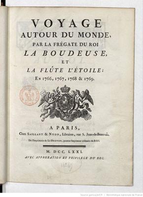 """Voyage autour du monde par la frégate du roi """"la Boudeuse"""" et la flûte """"l'Étoile"""" en 1766, 1767, 1768 & 1769 – Partie I (1771)"""