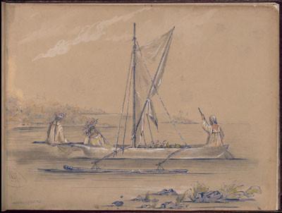 Tahitiennes en pirogue transportant des fruits – Dessin de C.C. Antiq (1845-1847)