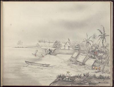 Fort français sur une île – Dessin de C.C. Antiq (1845-1847)