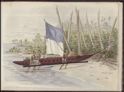 Marquises, Vaitahue, Indiens ayant été chercher des vivres – Dessin de C.C. Antiq (1846)