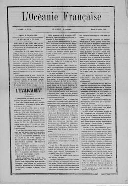 L'Océanie française du 24 juillet 1883