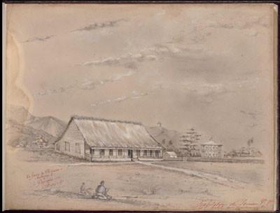 Habitation de Pomare Vahine 1ère et hôtel du gouvernement – Dessin de C.C. Antiq (1847)