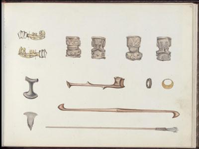 Objets marquisiens & boucles de la reine de Fatou Hiva – Dessin de C.C. Antiq (1845-1847)