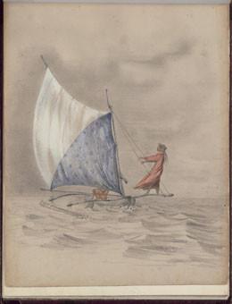 Papara, indienne venant de Moorea – Dessin de C.C. Antiq (1845-1847)