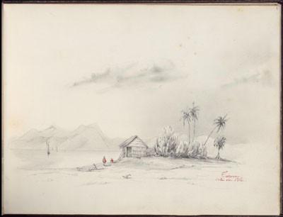 Taravao, côté de l'île – Dessin de C.C. Antiq (1847)