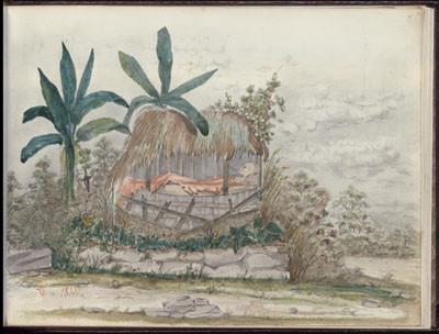 Corps exposé d'un mort, Marquises, Nuku Hiva – Dessin de C.C. Antiq (1846)