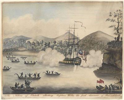 Natifs de Otaheiti attaquant le Capitaine Wallis, premier découvreur de cette île (1767)