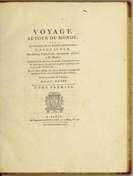 Voyage au tour du monde sur le vaisseau de sa Majesté britannique l'Endeavour par Sidney Parkinson – Tome I (1797)