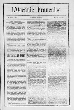 L'Océanie française du 31 juillet 1883