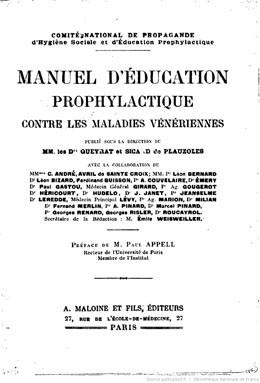Manuel d'éducation prophylactique contre les maladies vénériennes (1922)